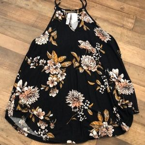 Tops - Floral high neck cut out tank top